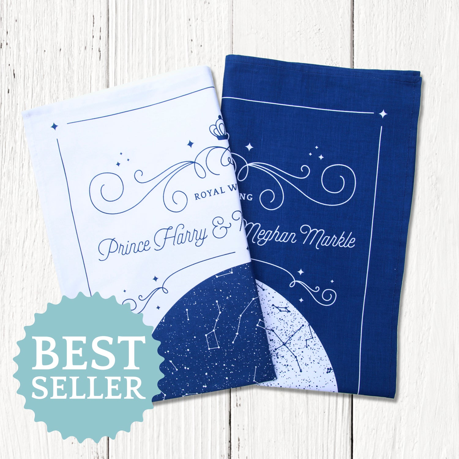 The stars over the Royal Wedding - Set of 2 coordinated tea towels