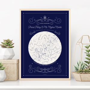 Royal wedding souvenir poster in blue with stars and constellation map