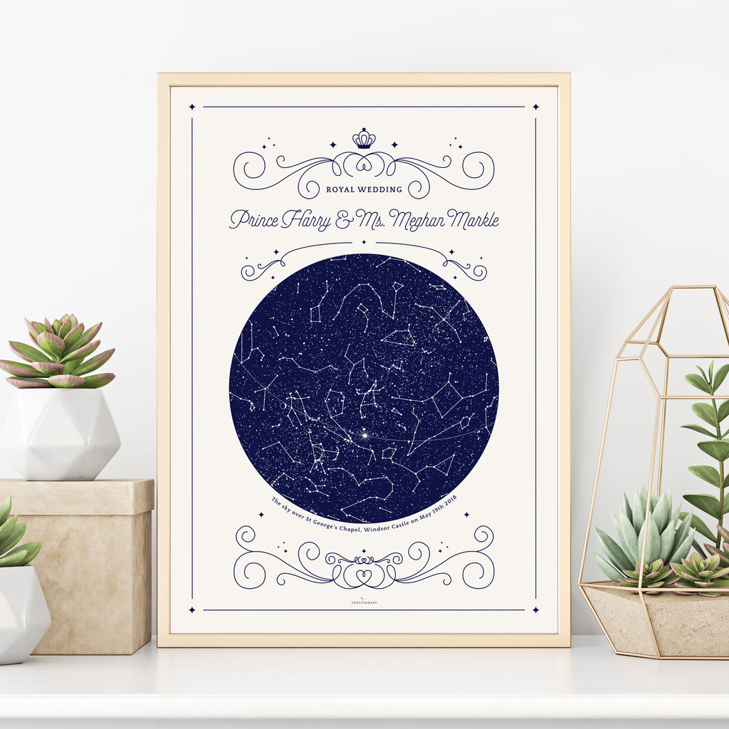 Royal Wedding commemorative poster in White featuring the sky with stars and constellations