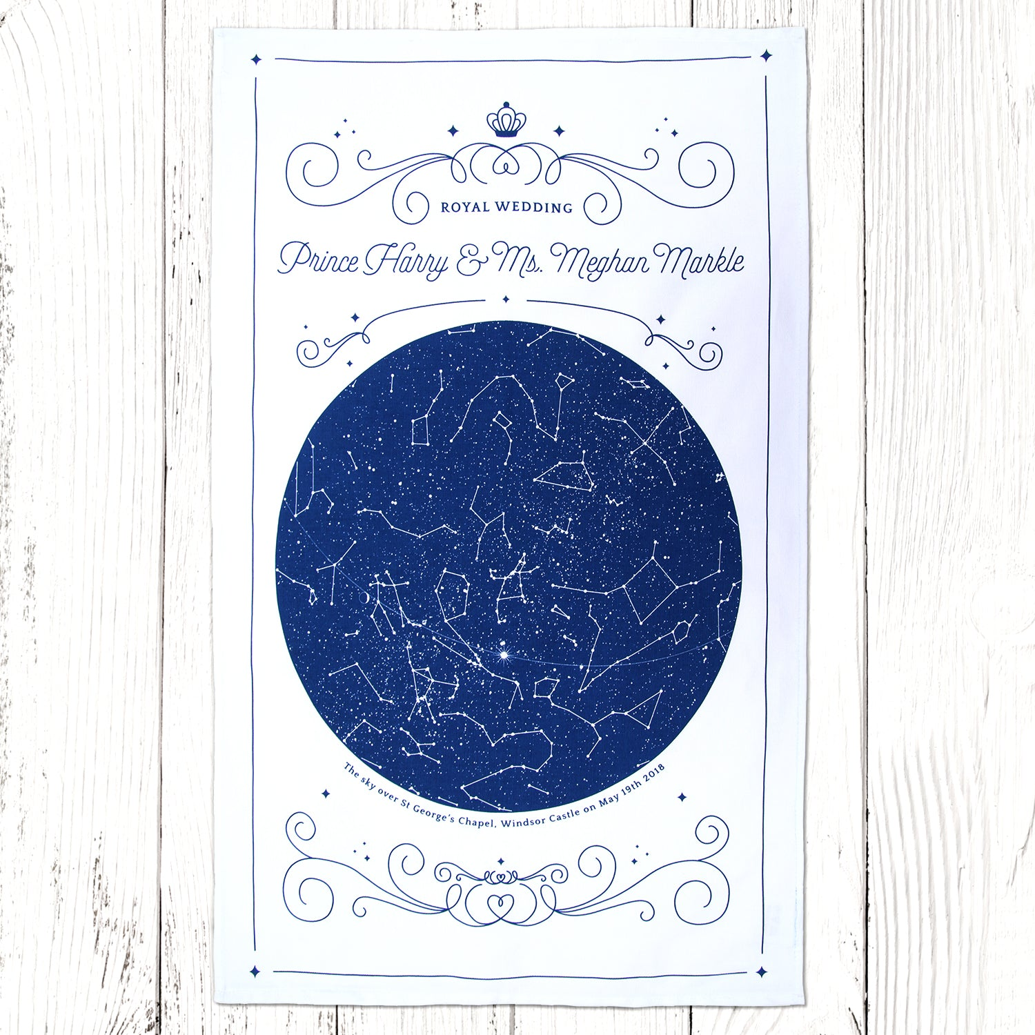 Harry and Meghan wedding souvenir tea towel blue print on white with the sky over St.George's Chapel