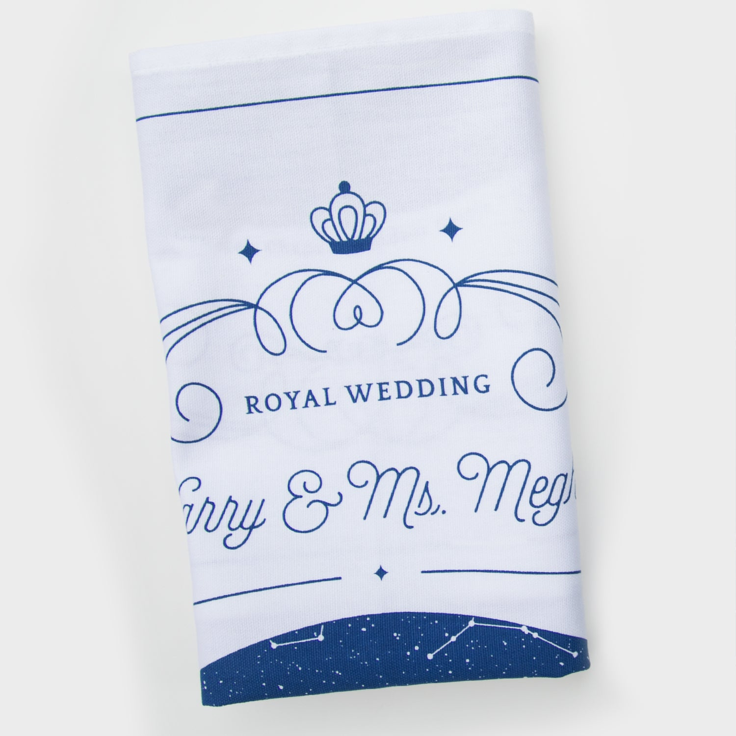 Blue and white Royal Wedding souvenir kitchen towel with star map
