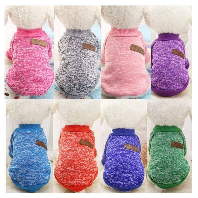 Knitted Solid Color Dog Sweater