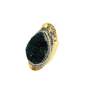 Tear Drop Black Druzy Agate Statement Ring