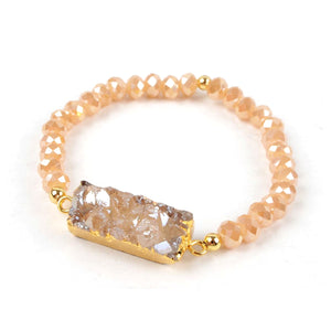 Rectangle Druzy Agate Bracelet in Champagne