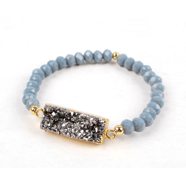 Rectangle Druzy Agate Bracelet in Silver