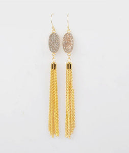 Oval Champagne Druzy Agate Drop Tassle Earrings