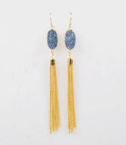 Oval Blue Druzy Agate Drop Tassle Earrings