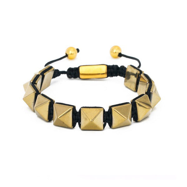 Hematite Gemstone Pyramid Hombre Bracelet in Gold