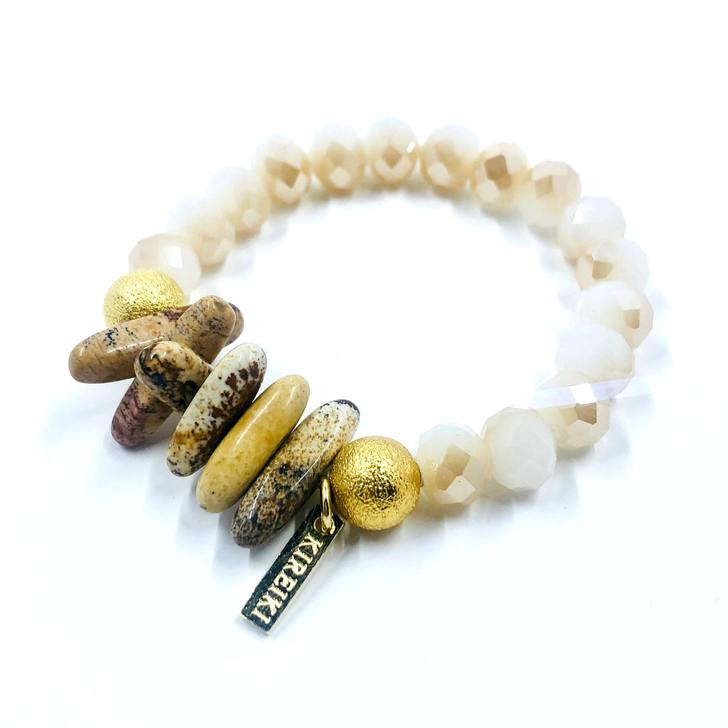 Brown Agate & Champagne Crystal Bracelet