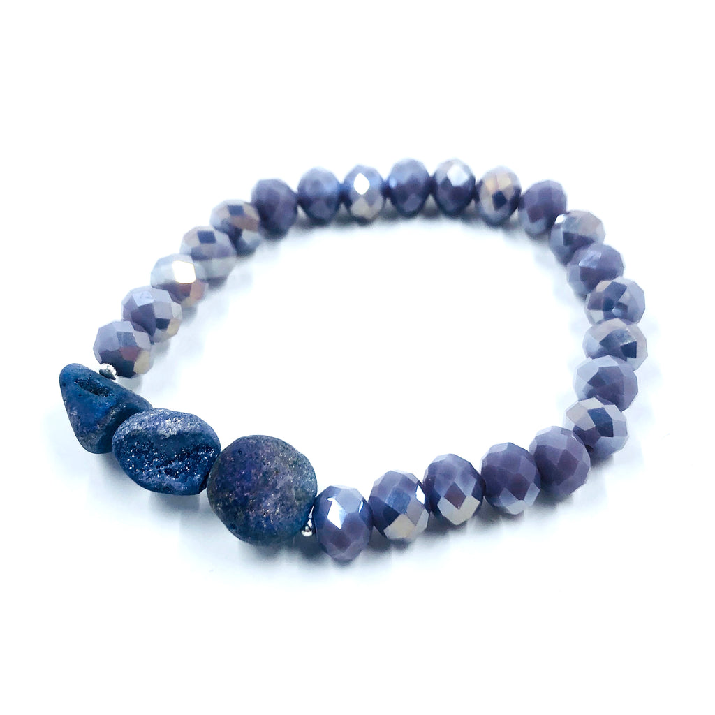 Purple Agate & Purple Crystal Bracelet