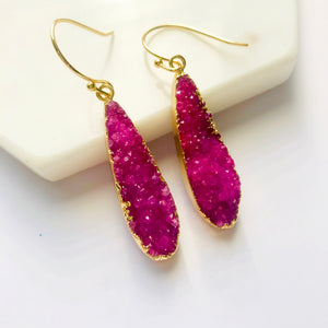Pink Druzy Agate Drop Earrings
