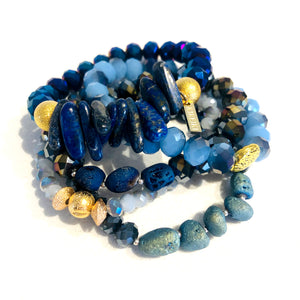 Blues Agate & Gemstone Cluster Bracelet