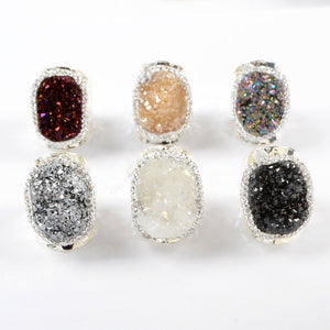 Champagne Oval Druzy Agate Statement Ring