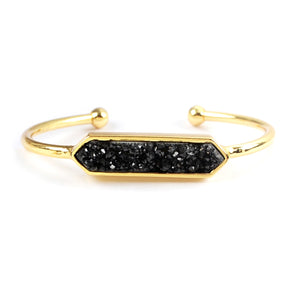 Hexagon Druzy Agate Bangle in Black