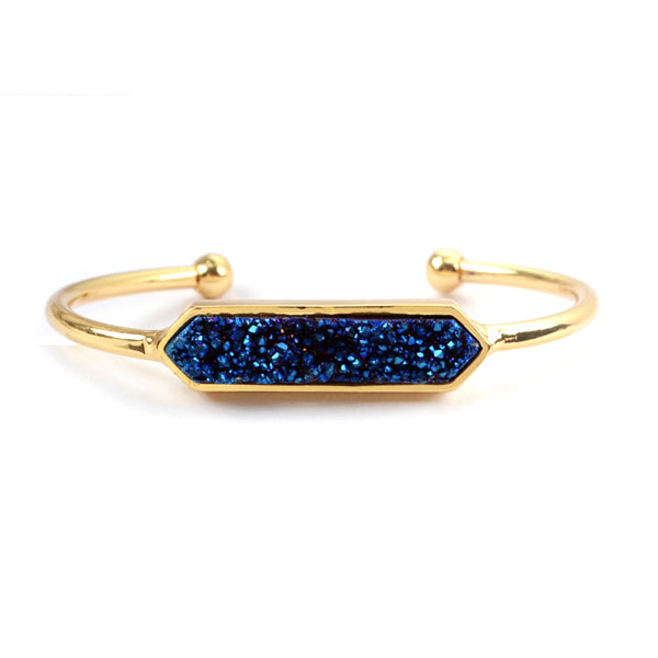 Hexagon Druzy Agate Bangle in Blue