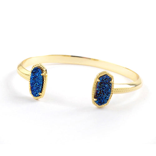 Oval Druzy Agate Bangle in Blue