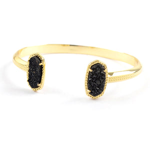 Oval Druzy Agate Bangle in Black
