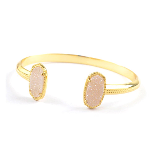 Oval Druzy Agate Bangle in White