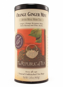 orange ginger mint, moxie java, tea
