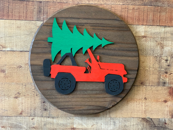 Wooden Jeep Christmas Tree Sign