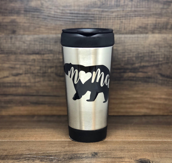 Mama Bear Stainless Steel Travel Mug with push lid