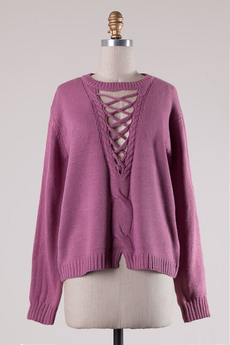 Vintage Rose Lattice Cut Knit Sweater #95