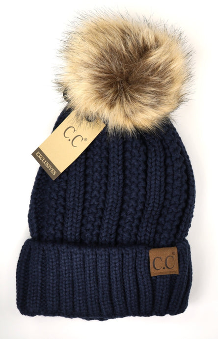 Solid Ribbed Beanie Hat with Pom