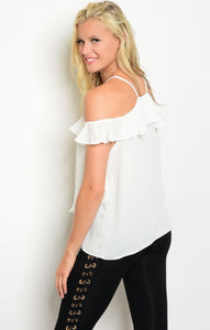 Ruffled White Top #91