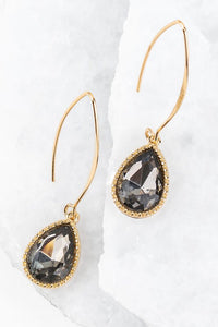 Black Gem Tear Drop Hook Earring #4