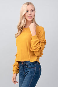 Mustard Ruffled long sleeve #96