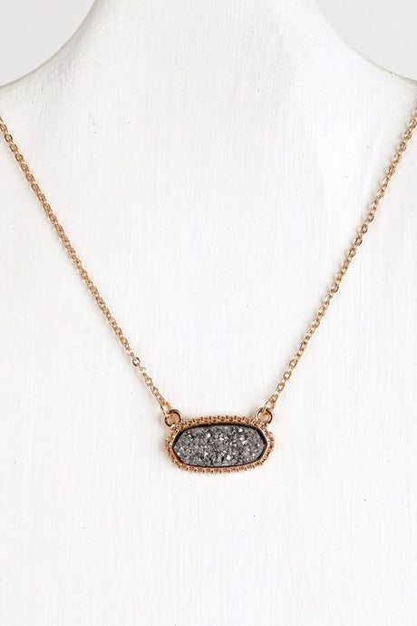 Hematite Druzy Necklace #3