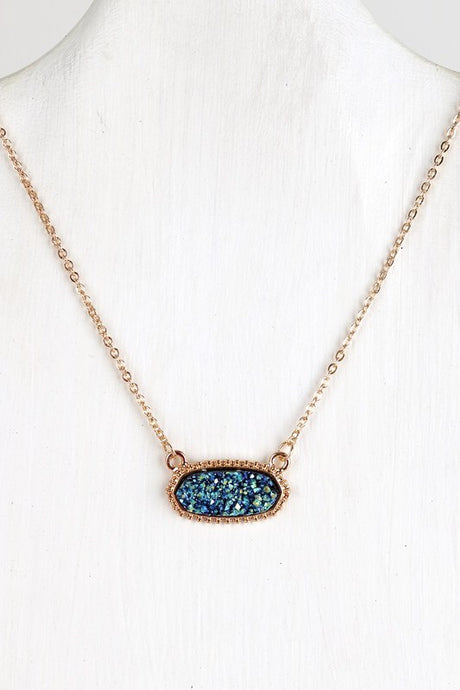 Teal Druzy Necklace #3