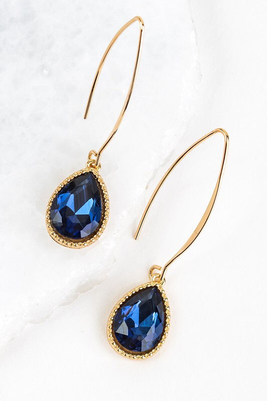 Midnight Blue Teardrop Hook Earring #4
