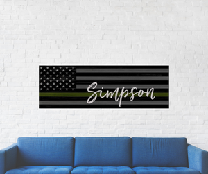 Army Inspired Flag with Family Name Wood Sign