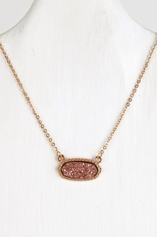 Rose Gold Druzy Necklace #3