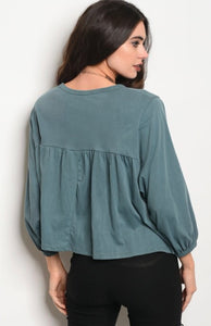 Sea Blue Light Washed Top #92
