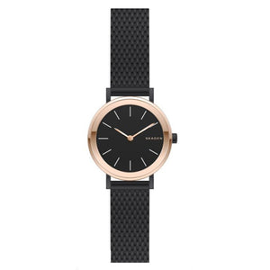 Skagen Hald Black Dial Rose Gold-tone Ladies Watch SKW2493