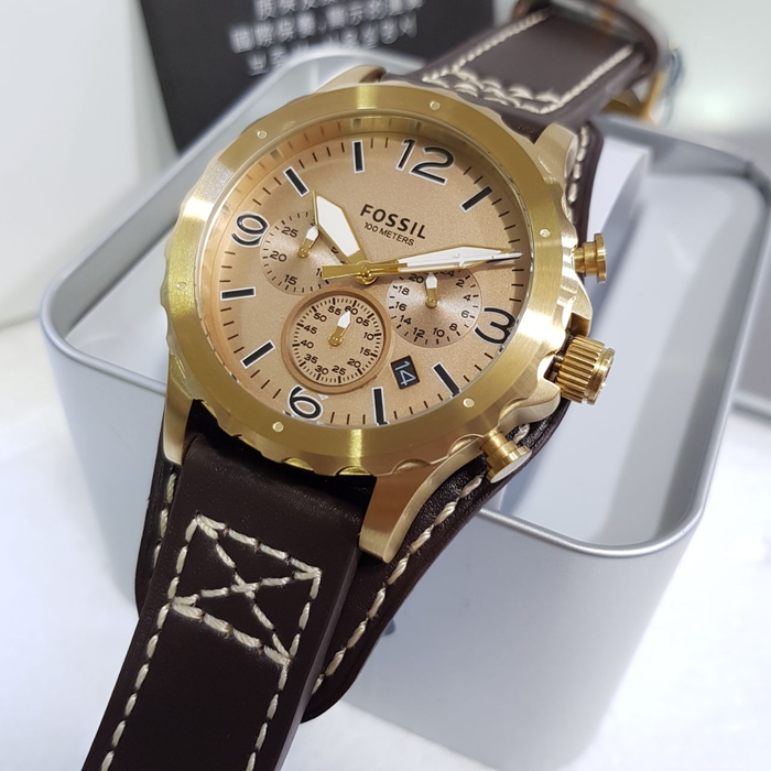Fossil Nate Gold-tone Chronograph Brown Leather Men's Watch JR1495