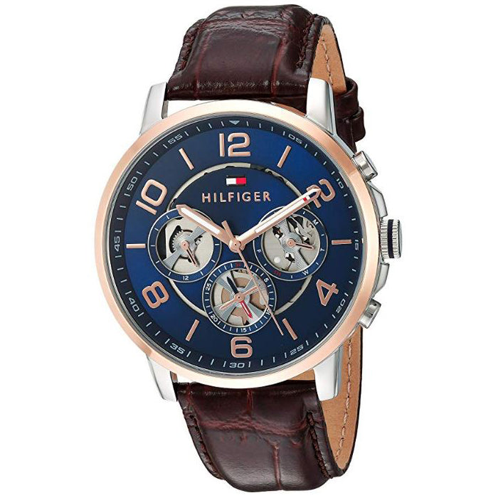 Tommy Hilfiger Keagan Navy Dial Leather Strap Men's Watch 1791290