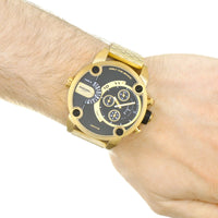 Diesel Big Daddy DZ7412 316L gold stainless steel 2 time zones 30m water-resistant