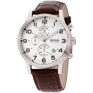 Hugo Boss Aeroliner Chronograph Silver Dial Men's Watch 1512447 Water resistance: 50 meters / 165 feet Movement: Quartz