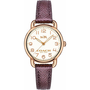 Coach Delancey White Dial Purple Leather Strap Ladies Watch 14502251