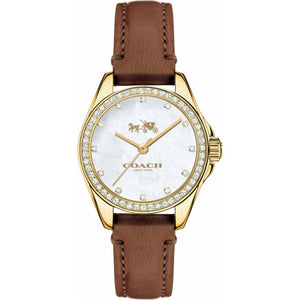 Coach Mother of Pearl Dial Leather Strap Ladies Watch 14502314