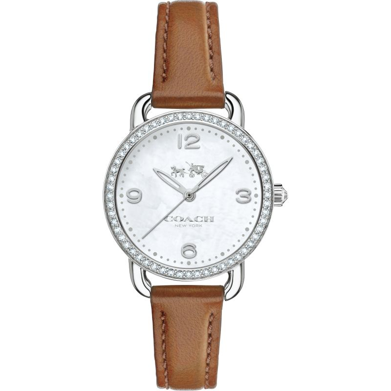 Coach Delancey White Dial Brown Leather Strap Ladies Watch 14502485