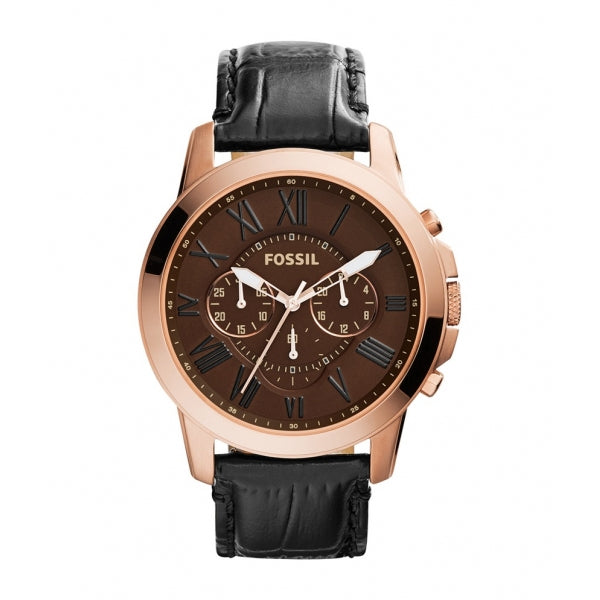 Fossil Grant Chronograph Brown Dial Leather Strap Men's Watch FS4992