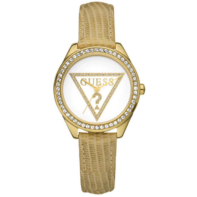 Guess Mini Triangle White Dial Leather Strap Ladies Watch W70015L1