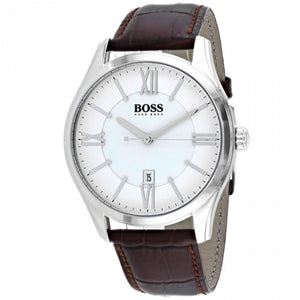 Hugo Boss Ambassador White Dial Leather Strap Men's Watch 1513021 Water resistance: 30 meters Movement: Quartz