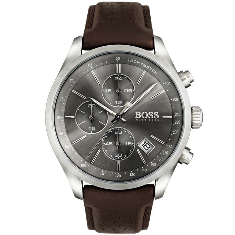 Hugo Boss Grand Prix Chronograph Grey Dial Men's Watch 1513476 Water resistance: 30 meters Movement: Quartz