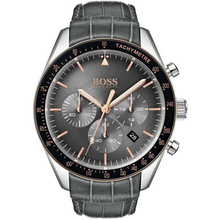 Hugo Boss Trophy Chronograph Grey Dial Men's Watch 1513628 Water resistance: 50 meters Movement: Quartz