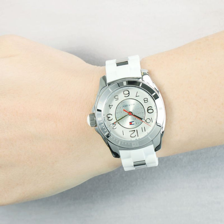 Tommy Hilfiger K2 Stainless Steel and White Rubber Strap Ladies Watch 1781306